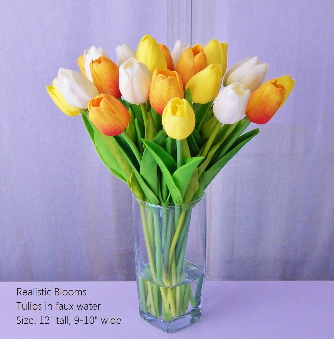 Tuliptulips silk floral arrangement faux water acrylic tuliptulips silk floral arrangement faux water acrylic illusion glass vase real touch flowers yellow orange pink white red reviewsmspy