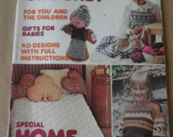 Vintage 1970's Mon Tricot Knit and Crochet magazine, crochet bed covers, aran cushions, womens jacquard sweaters, childrens crochet patterns