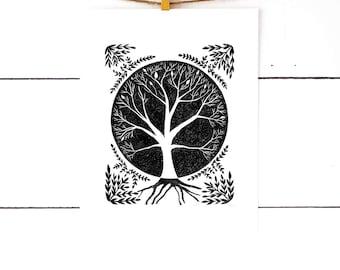 Tree of Life, Tree Print, Tree Artwork, Linocut Print, Block Print, Lino Print, Nature Art, Nature Prints, Black and White Art, Printmaking