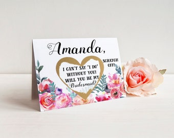 Bridesmaid Scratch Off Cards SET OF 4 or more Will you be my Bridesmaid Cards - Bridesmaid Proposal Card Invitation w/ Metallic Envelope