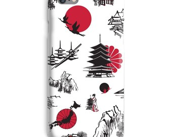 White Black iPhone Case, Japanese iphone case, Miniature iphone 6 case, Crane iphone 6 case, Designer iphone 6s case, Awesome iphone case