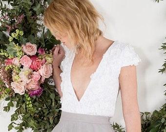 Lace Wedding Top / Wedding Crop Top / Wedding Separates/ Bridal Separates / Rasbery Pavlova Bridal Separates
