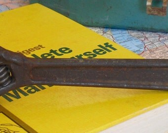 Vintage J P Danielson Betr Grip Drop Forged Steel Crescent Wrench, Adjustable Wrench, Made in USA, Old Rusty Wrench, Industrial Decoration