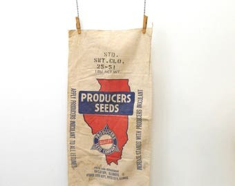Vintage Early 1900s Illinois Producers Seed Co. Feedsack...Decatur Illinois...Red Illinois State Outline...Blue Lettering...Large Seed Bag..