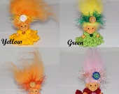 "Your Choice - 1 1/2"" Russ Pocket Troll Dolls, New Icelandic Sheepskin Hair, Knit Dress, Panties, Headband"