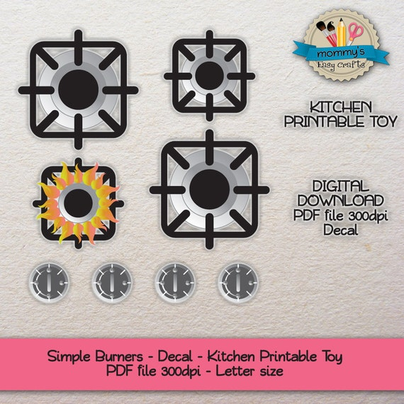 Descarga digital hornillas individuales pegatina cocina - Pegatinas para cocina ...