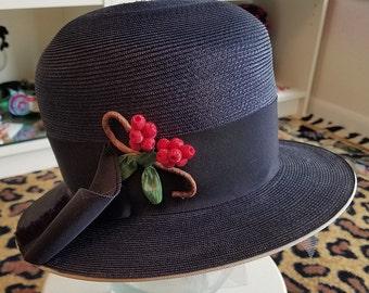 Clean, Vintage, 1960's, Dayton's, Navy Blue, Straw, Hat