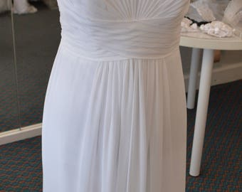 4/ White Chiffon Wedding Dress / Strapless Wedding Dress / Chiffon Satin Wedding Dress  / Beach Wedding / No Train / White / 4 / Gorgeous /