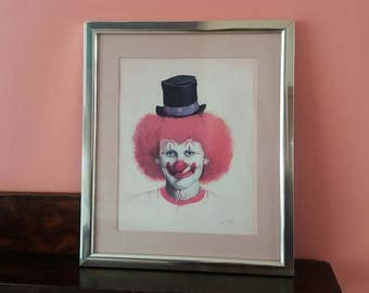Clown print * John Boden * vintage clown picture * circus decor * framed clown picture * creepy * scary * sinister *