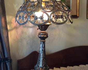 Vintage Italian table lamp silver tin filligree shade metal body and marble base