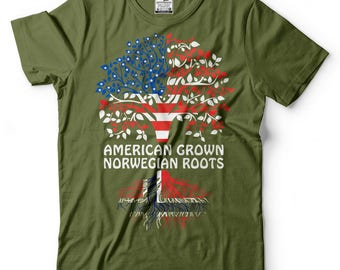 American Grown Norwegian Roots T-Shirt American Norwegian Patriotic Tee Shirt