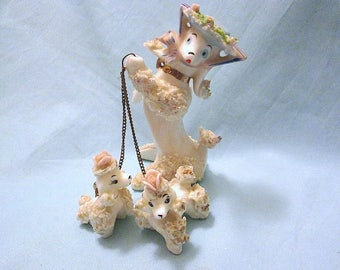 Vintage 1950s Porcelain Poodle Set - Porcelain Mother Poodle and Twins - 1950s Japan