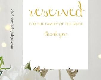 Gold Wedding Sign, Reserved Wedding Signage | Reserved Table Sign | Reserved Chair Sign | Rustic Wedding Decor | PDF Download | CWS307_0722