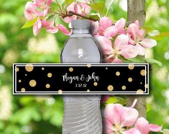 Wedding Water Bottle Labels - Printable Editable DIY Personalized Adobe - Wedding Reception Black Gold Print Water Bottle Labels - 0002-GB