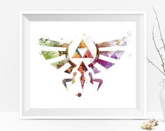 Legend of Zelda Art Print Hylian Crest Triforce Zelda Abstract Watercolor illustration Painting Wall Art Gift For Mom Digital Download