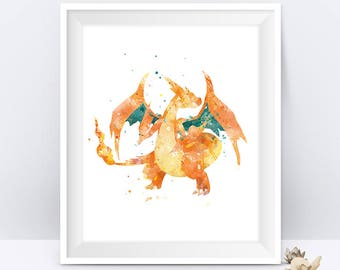 Pokemon Charizard Print Watercolor Printable Pokemon Gift Nursery Pokemon Pokemon Art Charizard Pokemon Go Birthday Gift Digital Download