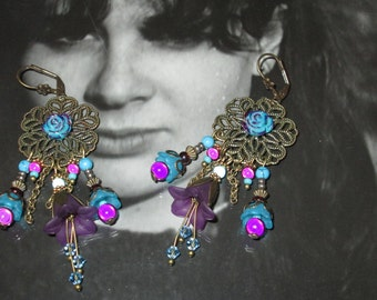 Designer earrings, Bohemian chic, purple and turquoise, lauramcreation