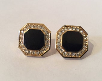 Christian Dior Black Enamel Rhinestone Clip Earrings