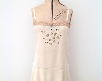 1920s silk slip camisole lace and embroidery vintage