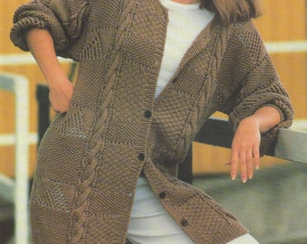 Womens Long Cardigan PDF Knitting Pattern : Ladies 38  - 44 inch chest . Slouch Cardi . Instant Digital Download