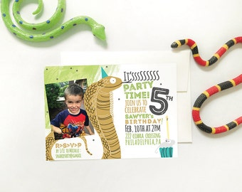 Snake Party Invitation, Snake Invite, Printable Photo Invitation, Cobra Birthday Party