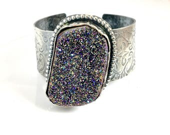 Peacock Druzy Sterling Wide Band Cuff
