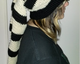 Beige and black striped pixie hat...perfect size for dreadlocks.