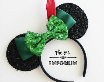 Peter Pan Inspired Mouse Ears Headband ~ Red Feather