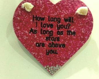 How long will I love you, hanging heart, Valentine's gift, nursery decor, pink glitter, diamante, keepsake gift, memorial gift, love gift