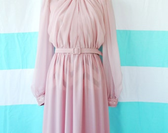 vintage clothing, womens dress, vintage dress, mauve dress, pink dress, chiffon, pleated dress, womens clothing, ruching, belt dress, sheer