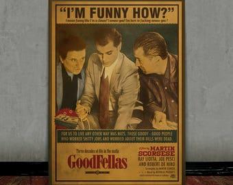 Goodfellas, Scorsese, Colored retro classic movie poster