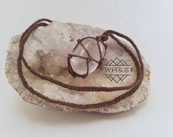 Hemp Wrapped Clear Quartz Necklace, Frosted Quartz Jewelry, Healing Crystal Jewelry, Healing Crystal Necklace, Quartz Pendant