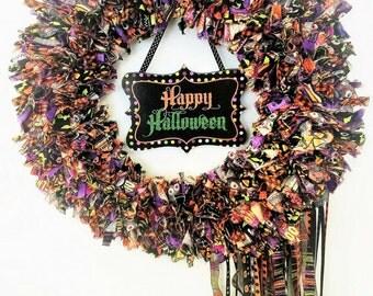 40% OFF HOLIDAY SALE! Halloween Wreath, Door Wreath, Rag Wreath, Fabric Ribbon Wreath, Holiday Wreath, Halloween Décor, Happy Halloween