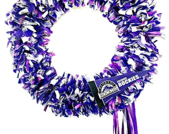 Colorado Rockies Wreath, Baseball Wreath, Front Door Wreath, Door Wreath, Handmade Wreath, Rag Wreath, Fabric Ribbon Wreath, Purple Wreath