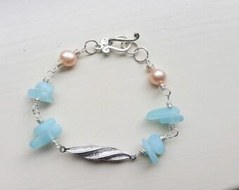 Sea glass bracelet, beach glass bracelet, sea glass jewelry, beach bracelet, wire wrapped bracelet, sterling silver bracelet, boho bracelet