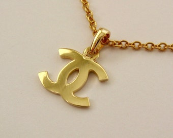 Genuine SOLID 9K 9ct YELLOW GOLD Double C Letter Pendant