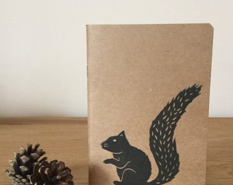 Squirrel A6 Handprinted Notebook