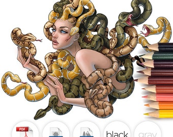 Adult Coloring Page Medusa