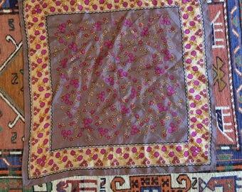 SALE // Vintage Silk Floral Square Scarf
