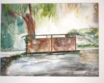 A walk in Vieux-la-Romaine, Countryside of Normandy, Watercolor, Old bridge