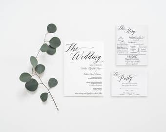Simple and Modern Wedding Invitation Set with Custom Love Story Card