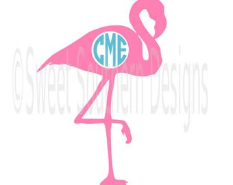 Flamingo monogram beach summer SVG instant download design for cricut or silhouette