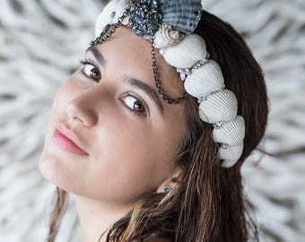 Mermaid, Seashell crown, Beach wedding hair accessories, Mermaid Crown, Seashell headband, Photography Prop