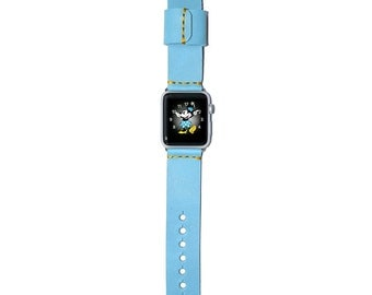 Leather Apple Watch Band 42mm - 38mm / Blue iWatch Band, Apple Watch Accessories, Apple Watch Strap Leather, Rose Gold Lugs Adapter