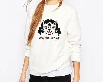 Wonder Woman Cat, Cat Sweatshirt, Cat Sweater, Cat Lover Sweater, Cute Sweatshirt, Cat Gift, Wonder Woman, Wonder Woman sweater, Cat print.
