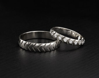 His and Hers unique wedding bands, Sterling silver wedding rings, Matching rings, Wedding ring set, Couple promise rings, Bands his and hers