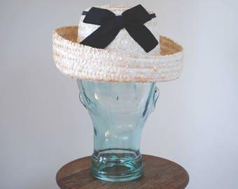 1960s Straw Hat/ 60s Wide Brim Hat/ Breton Style Hat/ 60s Cream Straw Hat/ White Straw Hat