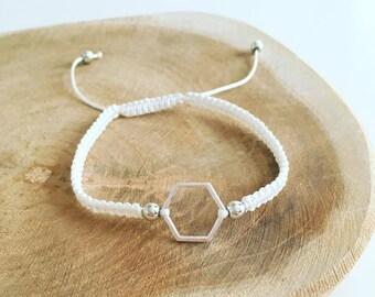 "Shamballa ""Hexagon silvery white"" bracelet"