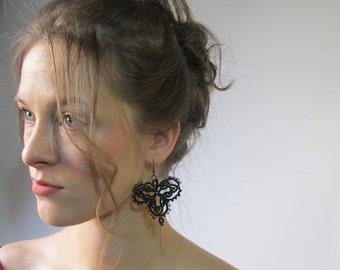 Black lace beaded earrings, Tatting earrings, Frivolite earrings, Black evening wear jewelry, Unique jewelry, Filigrees earrings, Accessory