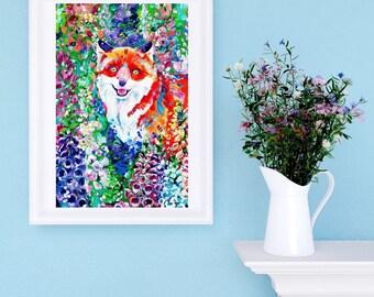 Fox Art Print - Foxglove